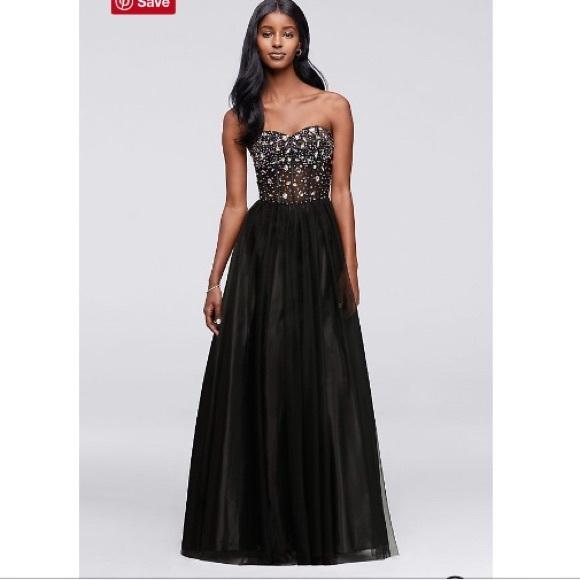 Blondie Nites Dresses Black Corset One Piece Sequin Prom Dress